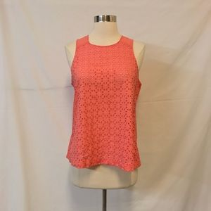 LOFT Coral Eyelet Lace Swing Style Blouse Size S